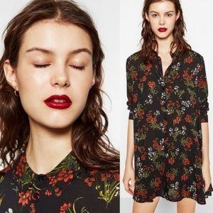 Zara Button Down Floral Dress